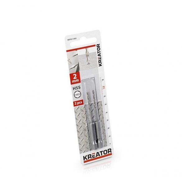 Kreator csigafúró készlet 2 részes 2.0x70 mmes HEX szár KRT011302