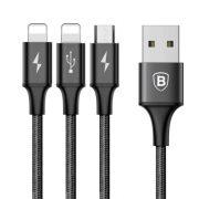 Baseus Rapid Series 3-in-1 fekete 1,2m USB kábel (Lightning+Lightning+Micro) (CAMLL-SU01)