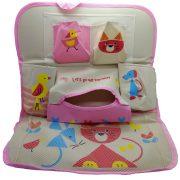 Autóülésre akasztható tároló - Beige-Pink állatos