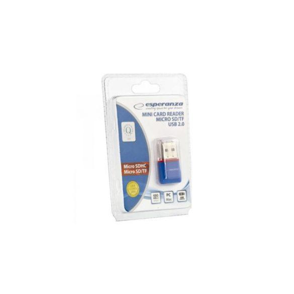 Esperanza MICRO SD USB 2.0 kártyaolvasó Kék