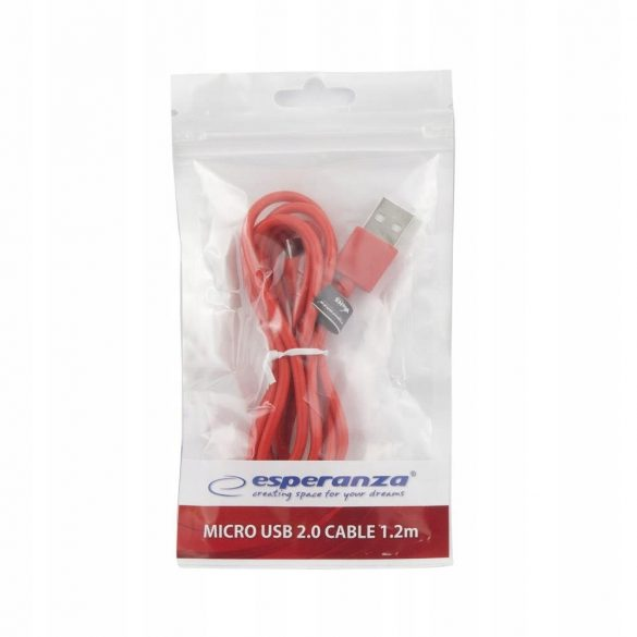Esperanza MICRO USB KÁBEL2.0 A-B M/M 1.2M Piros