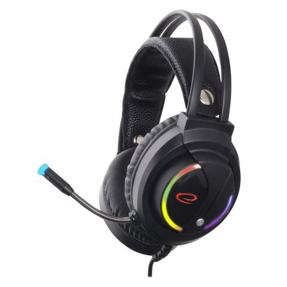 Esperanza STEREO gamer mikrofonos fejhallgató RGB NIGHTSHADE EGH470