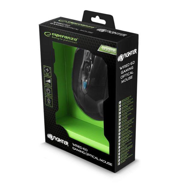 Esperanza Vezetékes gamer egér 6D optikai USB MX205 FIGHTER Kék