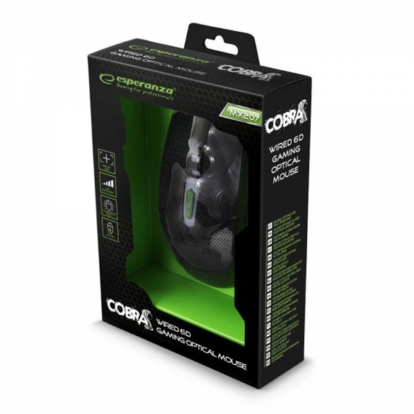 Esperanza Vezetékes gamer egér 6D optikai USB MX207 COBRA