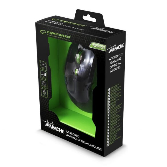 Esperanza Vezetékes gamer egér 6D optikai USB MX403 APACHE Zöld
