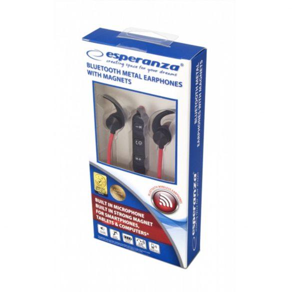 Esperanza EH186K mágneses Bluetooth headset - Fekete/Piros