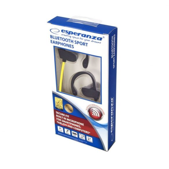 Esperanza EH188Y Bluetooth SPORT fülhallgató - Fekete/Sárga