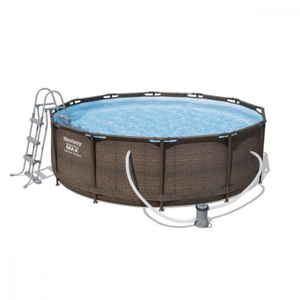 Bestway Mykonos Lux rattan hatású fémvázas medence szett 366x100cm (FFA 201)