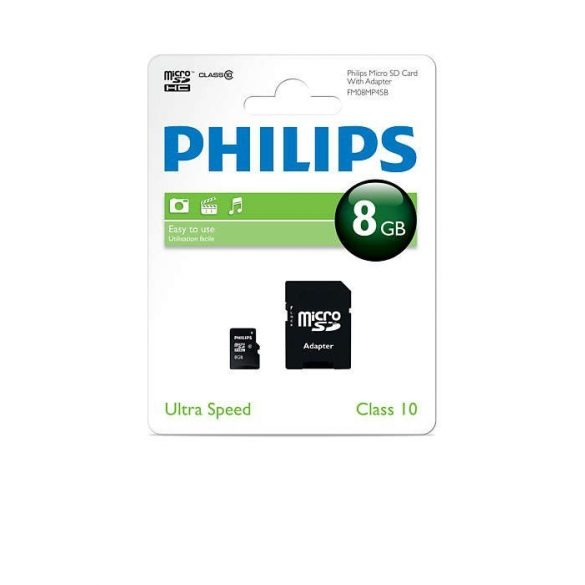 8GB Philips Micro SDHC memóriakártya adapterrel Class 10 (FM08MP45B)