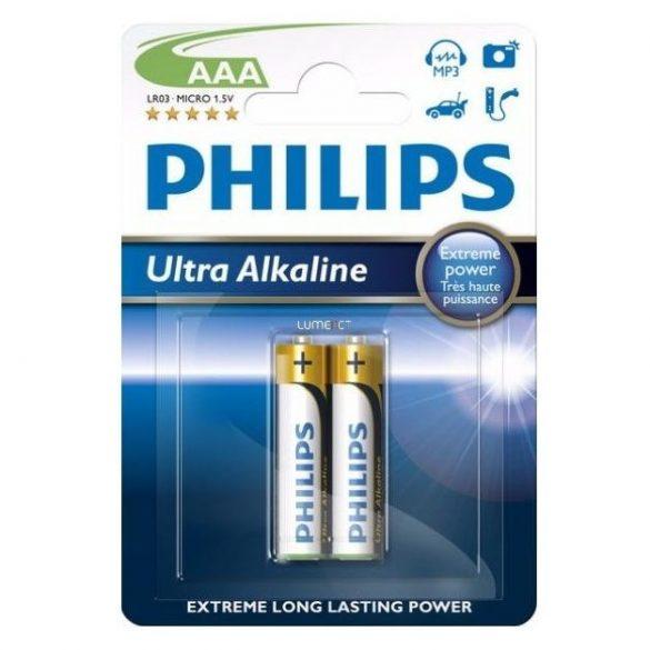 Philips LR03E2B/10 - 2 db alkáli elem AAA ULTRA ALKALINE 1,5V