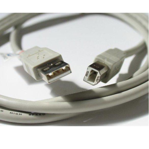 USB 2.0 kábel, csatlakozó A-B típus, 1,8 m, szürke