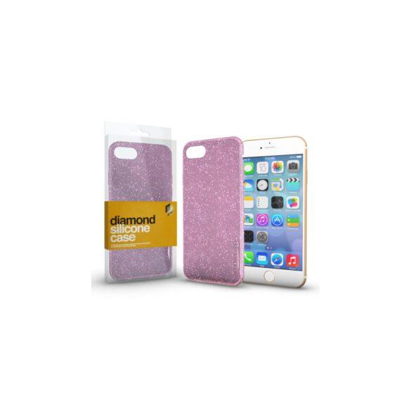 Szilikon védőtok Apple IPhone 66S készülékekhez  rózsaszín csillámos